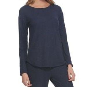 Felina Womens Comfyz Lounge Pajama Shirt Navy Blue